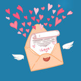 Hand drawn vector illustration. Love letter with hearts.  Stock Photo