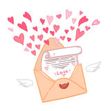 Hand drawn vector illustration. Love letter with hearts.  Royalty Free Stock Photo
