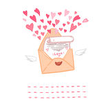 Hand drawn vector illustration. Love letter with hearts Stock Photo