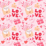 Hand drawn vector illustration. Love letter with hearts, gifts a Royalty Free Stock Photography