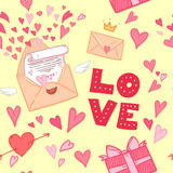Hand-drawn vector illustration. Love letter with hearts, gifts a Royalty Free Stock Photography