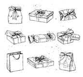 Hand drawn vector illustration - Magic gift boxes. Vintage royalty free illustration