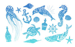 Hand drawn vector illustration - Marine kit. Design elements Stock Image