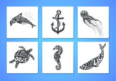 Hand drawn vector illustration - Marine kit. Graphic elements Royalty Free Stock Image