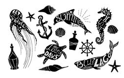 Hand drawn vector illustration - Marine kit. Graphic elements Royalty Free Stock Photography