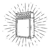 Hand drawn vector illustration with a matches box and divergent rays. Matches in a matchbox Royalty Free Stock Photography