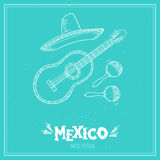 Hand drawn vector illustration - Mexico. Music festival. Royalty Free Stock Images