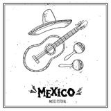 Hand drawn vector illustration - Mexico. Music festival. Royalty Free Stock Photo