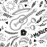 Hand drawn vector illustration - Mexico. Music festival. Royalty Free Stock Photos