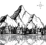Hand drawn vector illustration - mountain and forest. Outdoor ca Royalty Free Stock Photo
