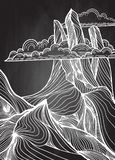 Hand drawn vector illustration of mountain landscape royalty free illustration