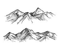 Hand drawn vector illustration - mountains. Sketch style Royalty Free Stock Images