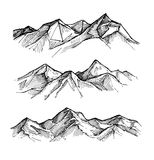 Hand drawn vector illustration - mountains. Sketch style. Outdoo Royalty Free Stock Images