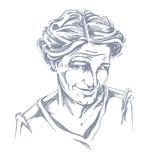 Hand-drawn vector illustration of naive blameworthy woman. Monoc Royalty Free Stock Image