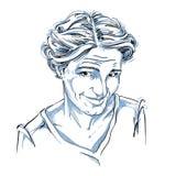 Hand-drawn vector illustration of naive blameworthy woman. Stock Photos
