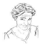 Hand-drawn vector illustration of naive blameworthy woman.  Stock Image