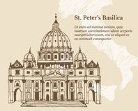 Hand drawn vector illustration of Papal Basilica of St. Peter in Vatican. Beige travel background with map of Italy and place for text stock illustration