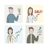 Hand drawn vector illustration of people showing something. businessman with hand present chart and graph up. Stock Photo