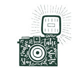 Hand drawn vector illustration of photo camera with text expression stay creative take shots Royalty Free Stock Images