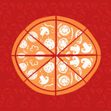 Hand-Drawn vector Illustration. Pizza on red background. Stock Photos