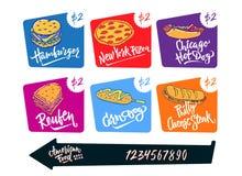 Hand drawn vector illustration popular American Food varieties Corn Dog, Chicago Hot Dog, Hamburger, Philadelphia Cheese Stock Image