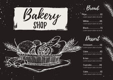 Hand drawn vector illustration - Promotional brochure of bakery. Royalty Free Stock Photos