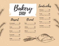 Hand drawn vector illustration - Promotional brochure of bakery. Stock Image