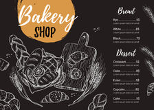 Hand drawn vector illustration - Promotional brochure of bakery. Stock Photography