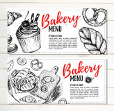 Hand drawn vector illustration - Promotional brochures of bakery Royalty Free Stock Photo