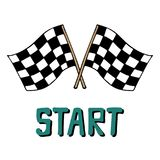 Hand-drawn vector illustration with racing flags and lettering. Start Royalty Free Stock Photo