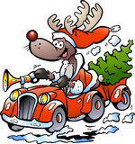 Hand-drawn Vector illustration of an Reindeer Driv Stock Images