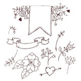 Hand drawn vector illustration. Romantic collection with ribbons Royalty Free Stock Images