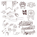 Hand-drawn vector illustration. Romantic collection with ribbons Stock Photography