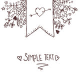 Hand drawn vector illustration. Romantic sketch with ribbons, he. Arts, flowers, arrows and wreaths royalty free illustration