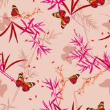 Hand drawn Vector illustration.Seamless pattern Floral with oriental butterflies in the bamboo garden. Design for fashion,fabric, vector illustration