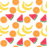 Hand-drawn vector illustration - Seamless pattern with fruit. Stock Photo