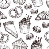 Hand drawn vector illustration - Seamless pattern with sweet. And dessert. Yummy background (croissant, cupcakes, pretzels, cake, cheesecake, macaroon Royalty Free Stock Images