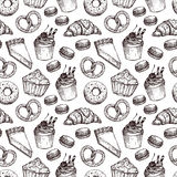 Hand drawn vector illustration - Seamless pattern with sweet and Royalty Free Stock Photo
