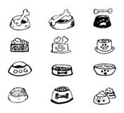 Hand Drawn vector illustration set of bowls of dog food sign and. Symbol doodles elements. Isolated on white background royalty free illustration