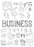 Hand drawn vector illustration set of business. Stock Image