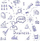 Hand drawn vector illustration set of business Stock Images