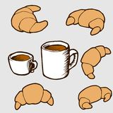 Hand drawn vector illustration set: croissants and. Vector illustration for your design: sweet cakes and pastries with cups of coffee and tee Royalty Free Stock Photos