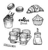 Hand drawn vector illustration - Set with dessert Stock Photo