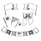 Hand drawn vector illustration - set of flags and ribbons. Stock Photo