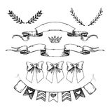 Hand drawn vector illustration - set of flags, ribbons and other Royalty Free Stock Photos