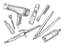 Hand-drawn vector illustration - Set of hairdresser tools Royalty Free Stock Images