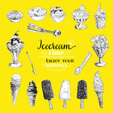 Hand drawn vector illustration set with ice Cream Stock Photography