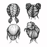Hand drawn vector illustration - set of ladies fashion hairstyle Stock Photography