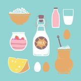 Hand drawn vector illustration - Set of milk products Stock Photo