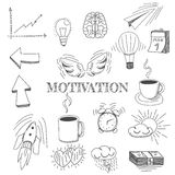 Hand drawn vector illustration set of motivation and buisness sign and symbol doodles elements. Vector - Hand drawn vector illustration set of motivation and Royalty Free Stock Photography